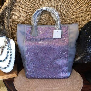 Deux Lux Purple Shimmer Tote Bag NWT